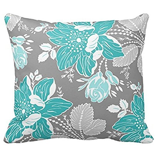 Chic Teal and Gray Floral Pattern Decorative Throw Pillow Cover Cushion Case Home Square 18 X 18 Inches Two Sides (Teal Decorative Throw Pillows)