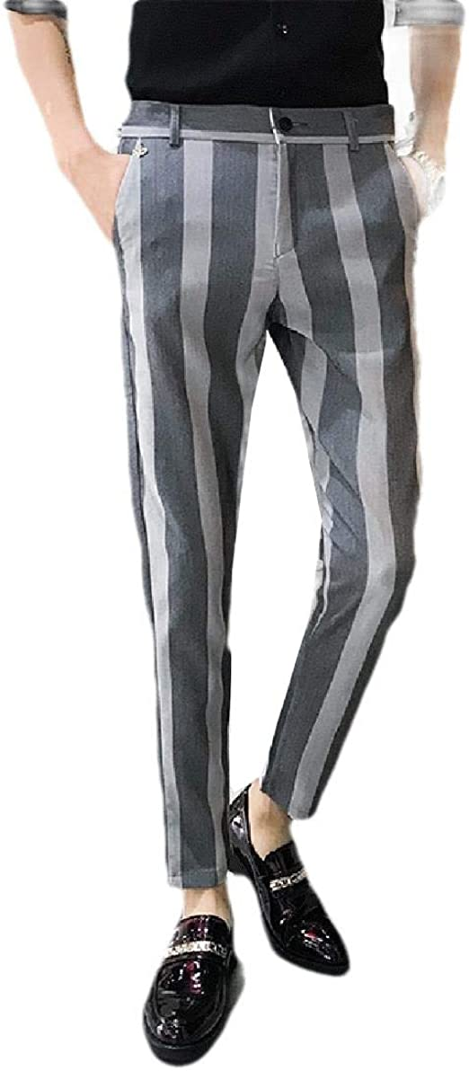 VITryst メンズ スリム ビジネス ポケット ストライプ ファッション カジュアル プレーンフロント ドレス パンツ