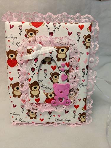 Teddy Bear Hugs and Kisses Baby Girl Photo Album - Holds 100 4x6 Photos - Custom Photo Album