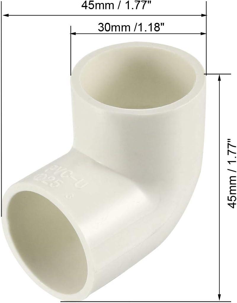 Adaptador de tuber/ías de PVC 2 unidades Conector deslizante de 40mm Blanco sourcing map Conector de acoplamiento de codo de 90 grados