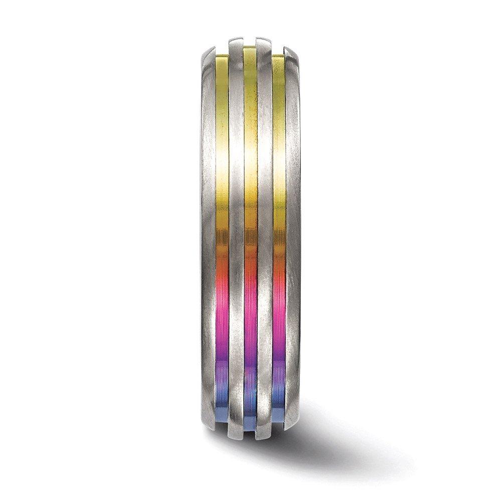 Edward Mirell Titanium Triple Groove Multi-Color Anodized Ring