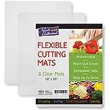 Flexible Plastic Cutting Board Mats Set, Clear Kitchen Cutting Board Set of 2 Clear Mats