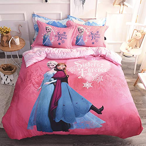 Cenarious Frozen Princess Sister Ice Snow Disney Cartoon Style Duvet Cover Set Cotton Flat Sheet Bed Cover - 3Pcs Bedding Set - Twin Flat Sheet Set - 62