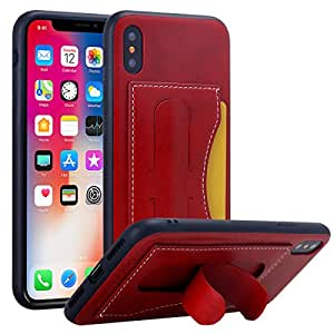 iPhone X Case, WATACHE Premium PU Leather Back TPU Flexible Bumper Business Vintage Shockproof Protective Cover Case with Bulit-in Kickstand Card Slot and Magnetic Iron for Apple iPhone X (Red)