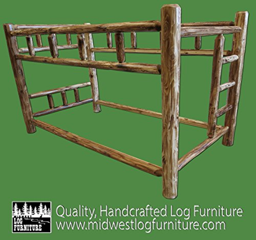 Midwest Log Furniture - Torched Cedar Log Bunkbed - TwinXL Over TwinXL