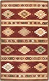 Rizzy Home Southwest Collection SU2012 Handtufted 100% Wool Area Rug 2' x 3' Burgundy-khaki