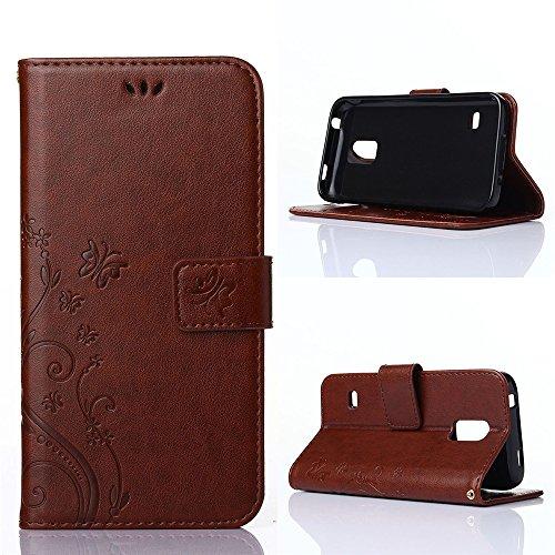 COOLKE Retro Mariposas Patrón PU Leather Wallet With Card Pouch Stand de protección Funda Carcasa Cuero Tapa Case Cover para Samsung Galaxy S5 mini - Rose marrón