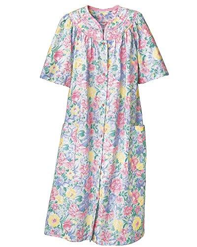 National Trapunto Yoke Housecoat, Multi Floral, Large - Lady Housecoat