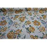 CLEARANCE Prestige Fabrics Large Yellow/Gold Blue Green Flowers Floral Vintage Cream Cotton Print Curtains Cushions Fabric - PER METRE by Prestige Fashion UK Ltd