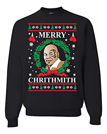 Wild Bobby Merry Chrithmith Mike Tyson Ugly Christmas Sweater Unisex Crewneck Sweatshirt, Black, Small