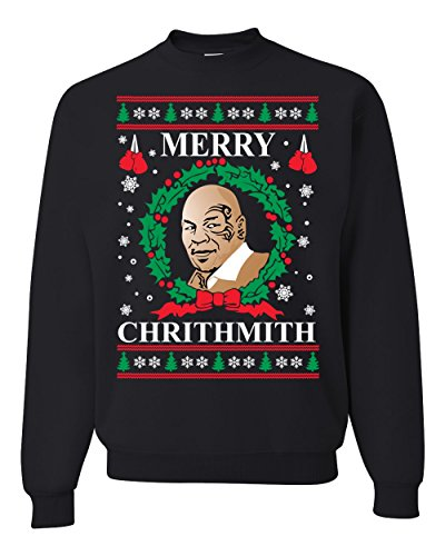 Merry Chrithmith Mike Tyson Ugly Christmas Sweater Unisex Crewneck Sweatshirt, Black, 3XL