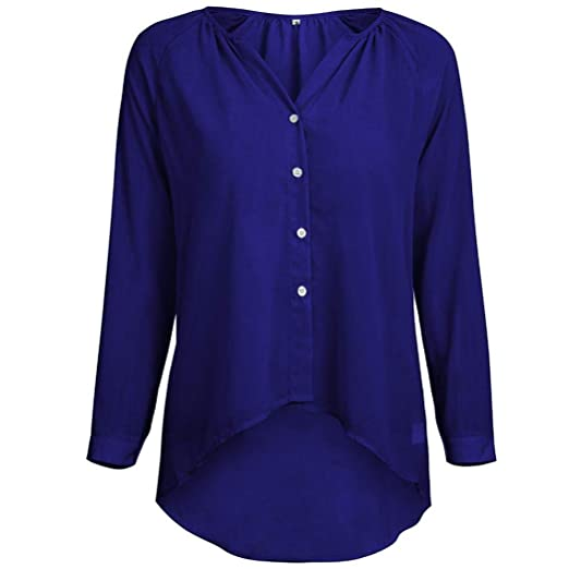 ❤ Camisas Mujer Tallas Grandes,Modaworld Camisa Casual de Gasa con Botones de Manga Larga para Mujer Blusa Elegante Señoras Tops Camiseta Sexy niña ...