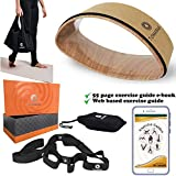 5 Piece Cork Yoga Wheel Gift Set | 55 Page Exercise E book | For Stretching and Back Pain | Large 15 + Small 8 Inch for Backbends | Stretching Yoga Strap & Loops | Double Radian Dharma Yoga Prop