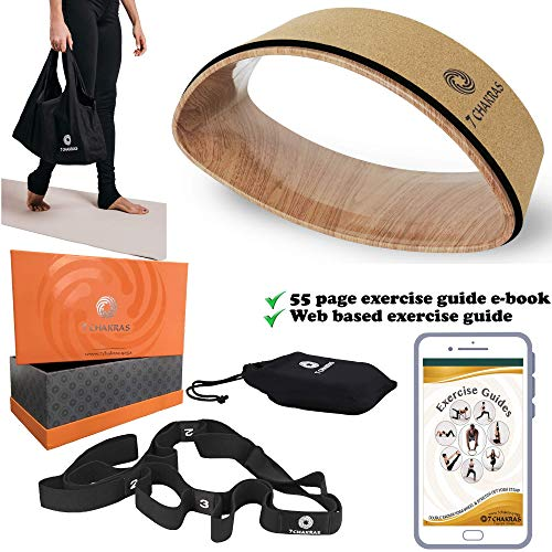 7 Chakras Cork Dharma Yoga Wheel Set & 55 Page Downloadable Book | 3 or 5 Piece Kit | 1 Yoga Strap w/Loops, 2 Travel Bags & 1 Gift Box | Yoga Equipment Accessories Set for Stretching and Back Pain
