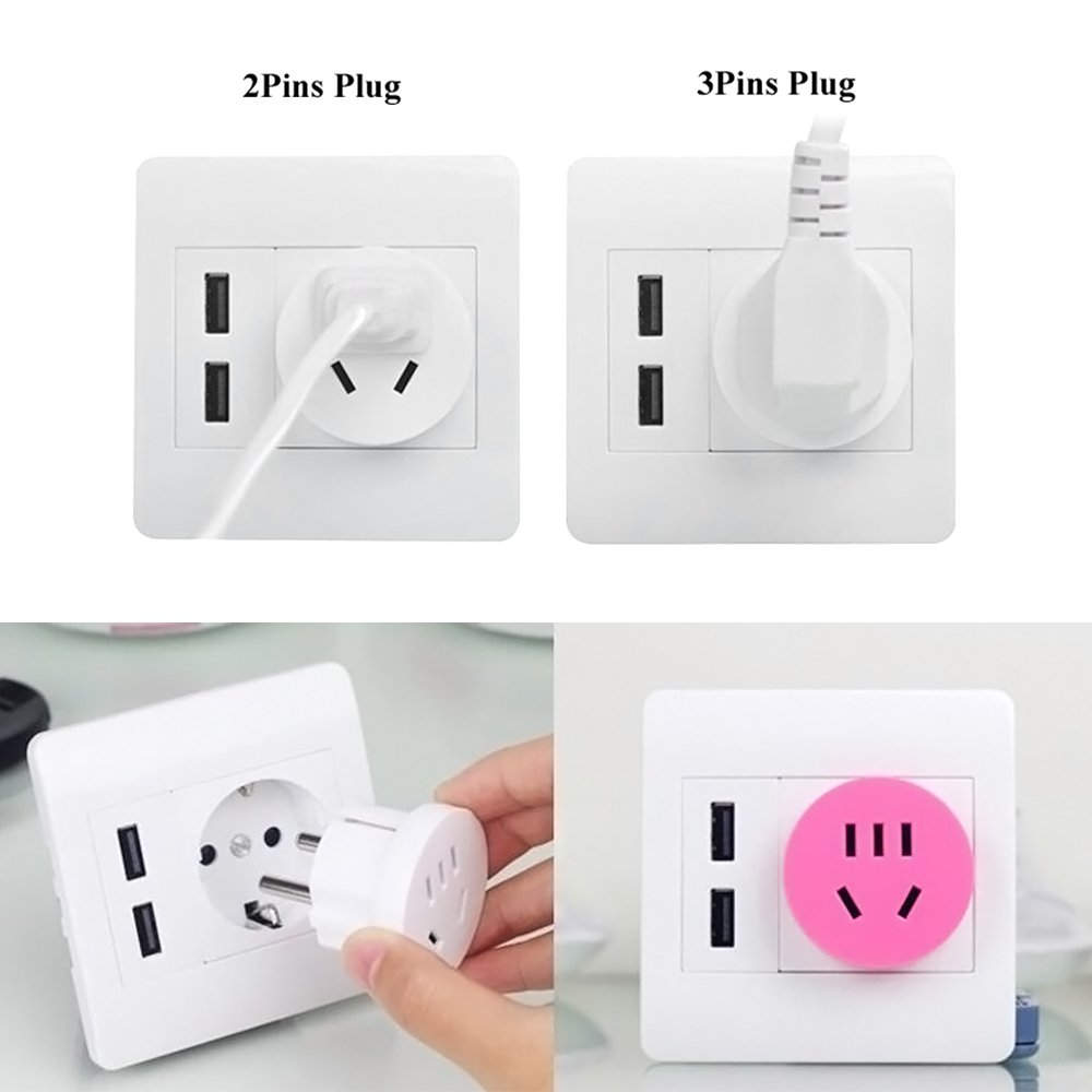 Fits Standard Outlets to Charge Mobile Devices iPod iPhone iPad ZhongYeYuanDianZiKeJi Wall Charger Plug Schuko Type with 2 USB Ports 250 V Connector White