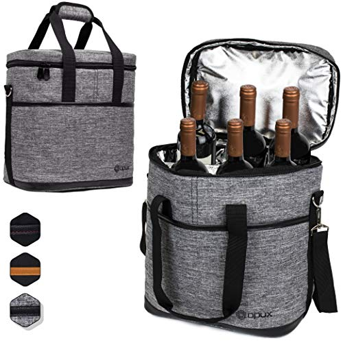 (Premium Insulated 6 Bottle Wine Carrier Tote Bag | Wine Travel Bag with Shoulder Strap and Padded Protection | Wine Cooler Bag (Heather Gray))
