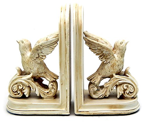 Designer's Decorative Dove Birds & Books Design Bookshelf Bookends