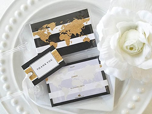 30 Glitter Gold World Map Luggage Tags Black Stripes 1.50 ea.