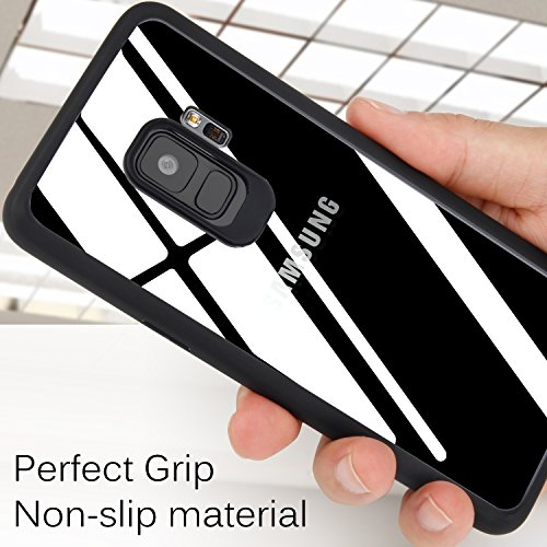 uk availability cc697 d79af TOZO for Samsung Galaxy S9 Case, PC + TPU Hybrid Ultra-Thin Hard Protect  Case Back-Transparent Bumper [Black Edge]