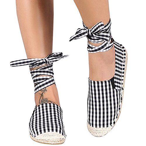 Plaid Espadrille - Womens Lace up Flat Espadrilles Ankle Strap Closed Toe Plaid Cut out Canvas Dress Sandals