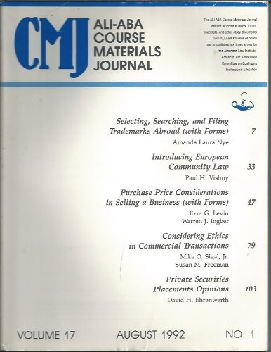 ALI-ABA Course Materials Journal Volume 17, August 1992, No. 1