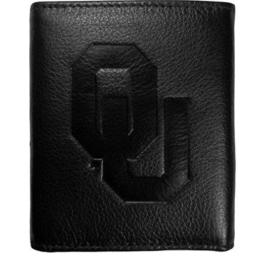 Siskiyou NCAA Oklahoma Sooners Embossed Black Tri-fold Leather Wallet