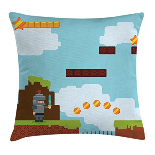 Video Games Throw Pillow Cushion Cover by Ambesonne, Arcade World Kids 90's Fun Theme Knight with Sword Fireball Bonus Stars Coins, Decorative Square Accent Pillow Case, 18 X18 Inches, (Coin Sword)