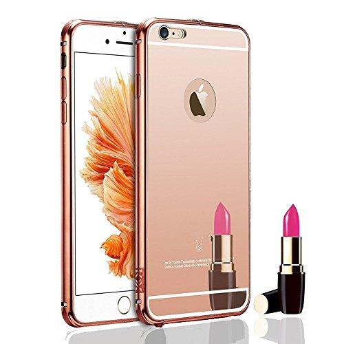 For Iphone 6s Plus 6 Plus Case, Janacy Luxury Air Aluminum Metal Bumper Detachable + Mirror Hard Back Case, 2 in 1 Cover, Ultra Thin Frame with Stylish Designs for Apple Iphone 6s Plus - Rose Gold