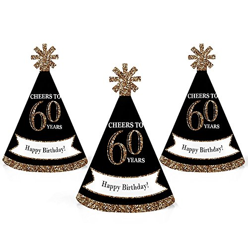 Adult 60th Birthday - Gold - Mini Cone Birthday Party Hats - Small Little Party Hats - Set of -