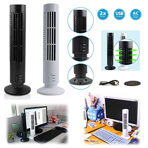 Fashionwu Portable USB Vertical Bladeless Fan, Mini Air Condition Fan Desk Cooling Tower Fan for Home/Office