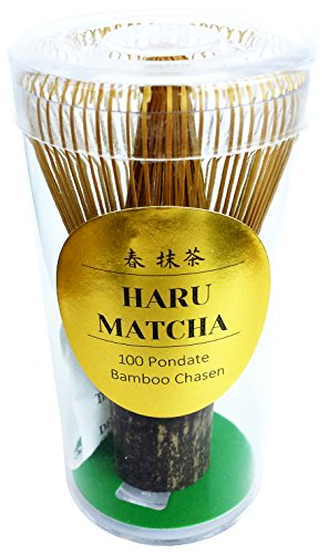 HARU MATCHA - MADE IN JAPAN- KUROCHIKU Black Bamboo Chasen - Handcarved Matcha Greentea Whisk (100 Prongs) - Mercola Matcha Green Tea Powder