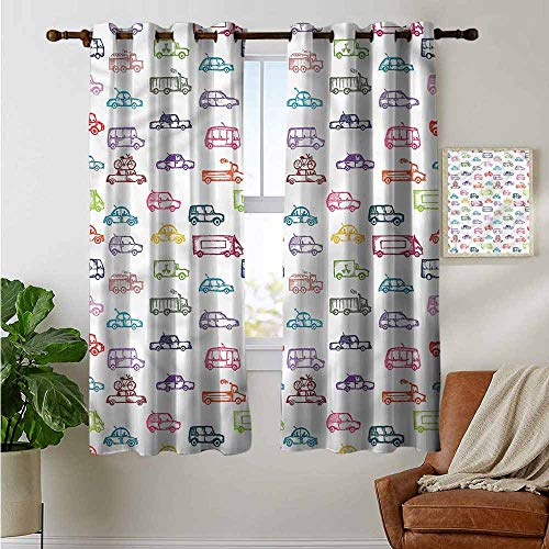 petpany Curtains for Living Room Cars,Various Vehicles Bus Truck,Complete Darkness, Noise Reducing Curtain 42