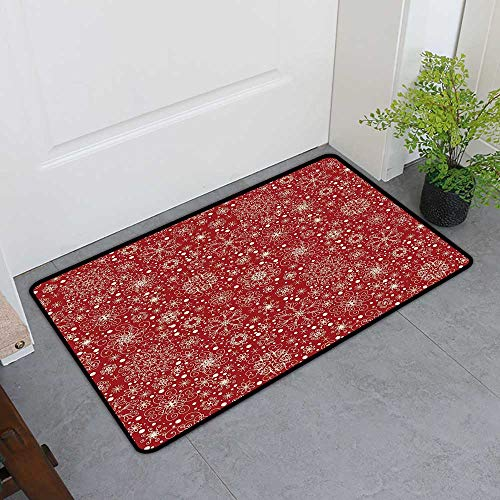 Custom&blanket Commercial Door Mat, Red Decorative Rugs for Kitchen, Filigree Style Snowflakes with Skinny Curl Details Cheerful Yuletide Inspiration in Art (Red Beige, H20 x W32)