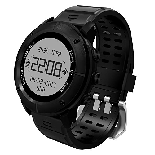 UWear Multi-Sport Smart Watches Waterproof GPS Hiking & Trail Running Sport Watch with Heart Rate Monitor / SOS / Compass / Weather / Barometer / and Altimeter for Hikers (Black)