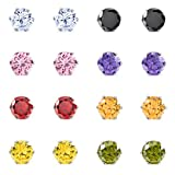 MOWOM Multicolor 6mm 16PCS Stainless Steel Stud Earrings CZ Round Square Royal King Crown Set (8 Pairs) Reviews