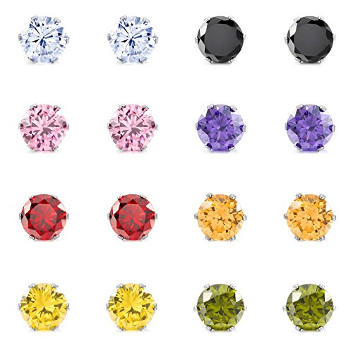 MOWOM Multicolor 6mm 16PCS Stainless Steel Stud Earrings CZ Round Square Royal King Crown Set (8 Pairs) (Block Earrings For Men)