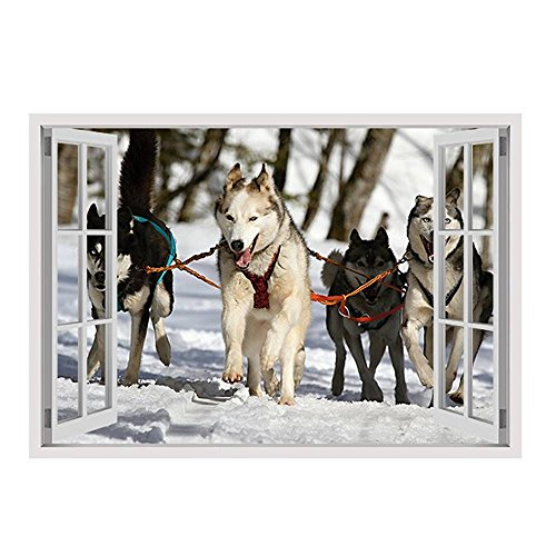 Alonline Art - Huskies In The Snow by Fake 3D Window | framed stretched canvas on a ready to hang frame - 100% cotton - gallery wrapped | 39