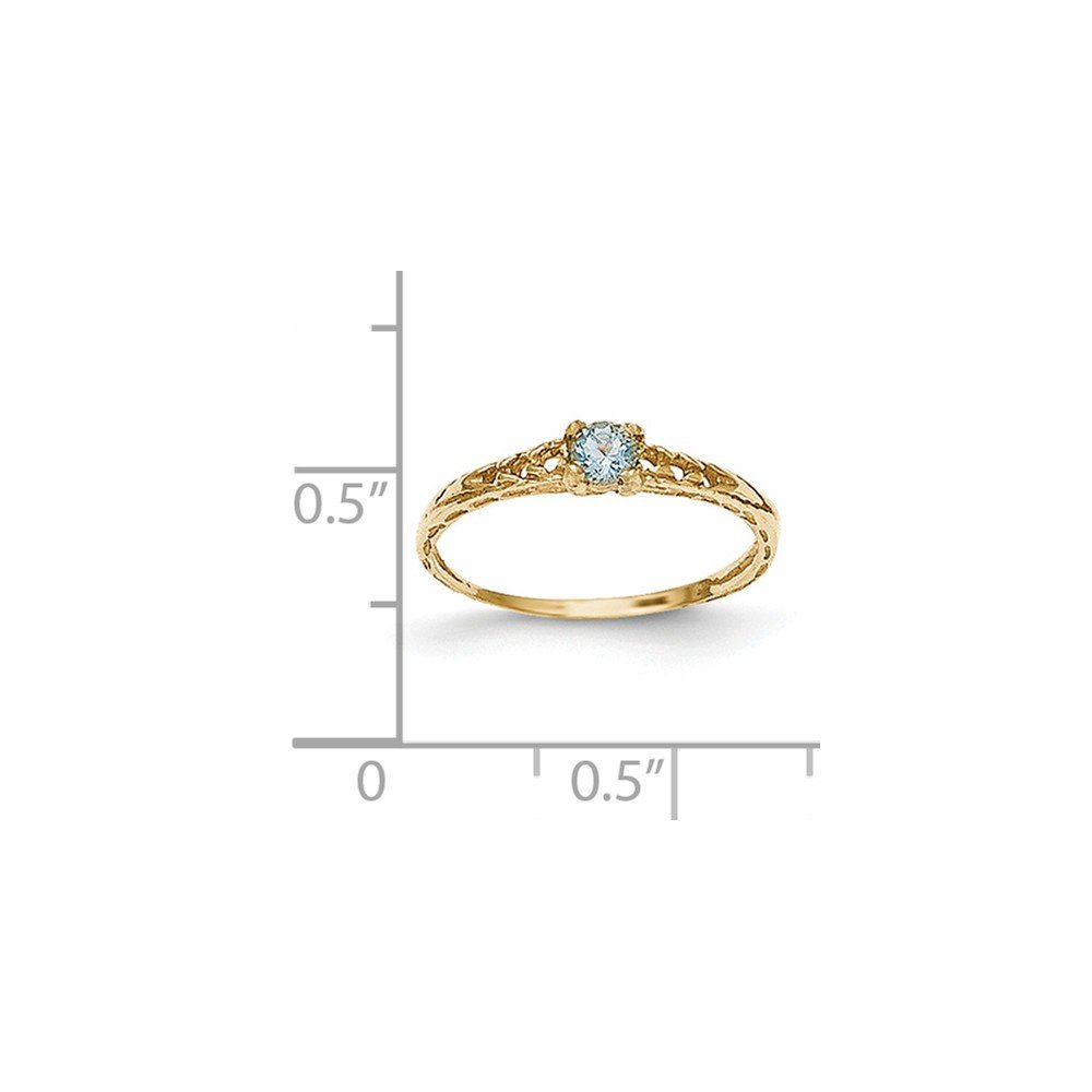 ICE CARATS 14k Yellow Gold 3mm Blue Aquamarine Birthstone Baby Band Ring Size 3.00 March Fine Jewelry Gift For Women Heart by ICE CARATS (Image #4)