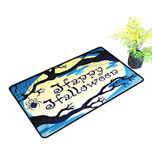 gmnalahome Front Welcome Entrance Door Mats Happy Halloween Quote Spooky Night Moon and Branches Shadows Haunted Lights YEL Home Decor Rug Mats W33 x H21 INCH]()