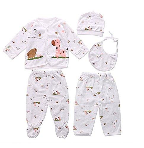 0-3M Newborn Baby Layette Set Cotton Clothes Tops Hat+Pants Suit 5 Pieces Sets ()