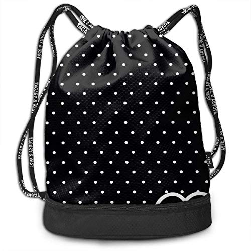 (Drawstring Bag, Colorful Polka Dot Rucksack, Gym Bag Sackpack Sports Backpack for Men Women Girls)