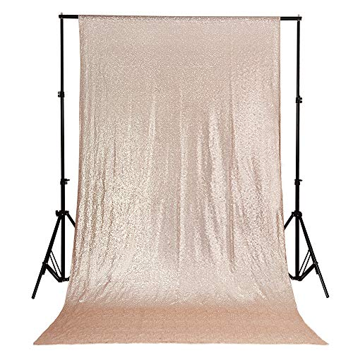 B-COOL Champagne Blush 4ftx6.5ft Sequin Backdrop Photography and Background Fabric Backdrop Photo Booth Backdrop for Wedding/Party/Curtain/Birthday/Halloween/Christmas/Prom]()