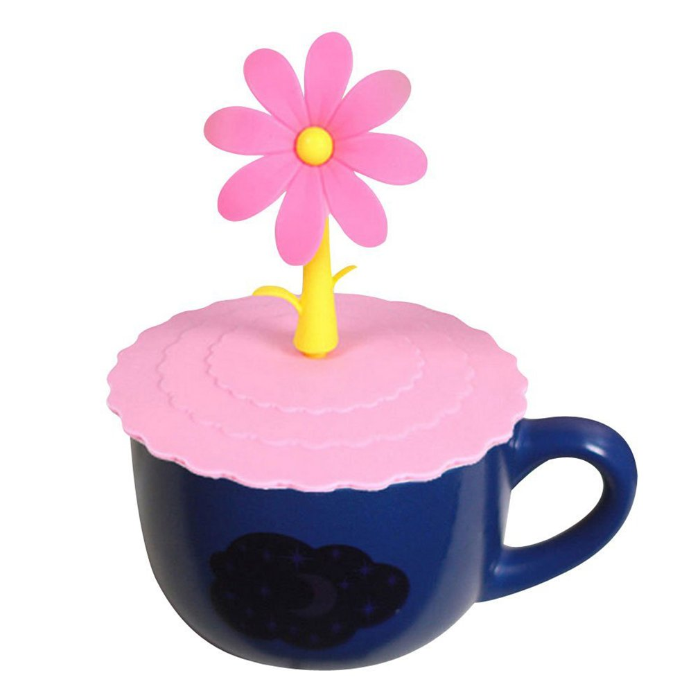 HENGSONG Silicone Anti-Dust Cup Lids with Cute Flower Handle Seal/Leak Proof Cover for Cups, Mug & Glass (Pink) mei_mei9