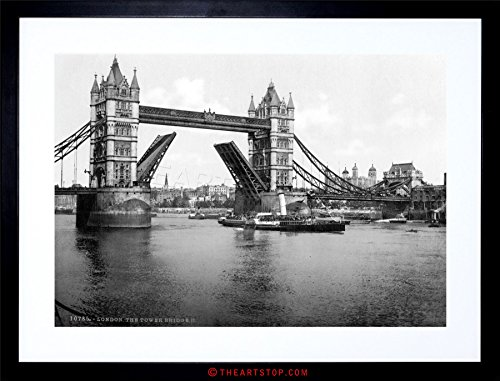 VINTAGE PHOTO LONDON TOWER BRIDGE ENGLAND FRAMED PRINT F97X3900 (Picture London Bridge)