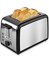 2 Slice Toaster, TOBOX Premium Brushed Stainless Steel 2-Slice Toaster with Defrost, Reheat, and Cancel Buttons