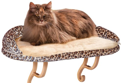 K&H Pet Products Deluxe Kitty Sill Cat Window Hammock Perch with Removable Bolster (Sill Window Seat)
