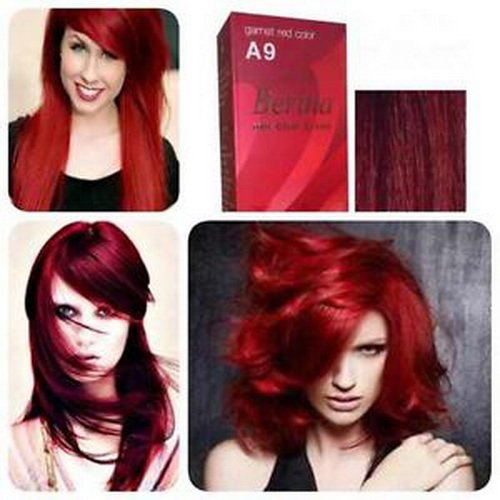 [Pack of 1 Set Berina Garnet Red Hair Dye A9 Hair Color Cream Dye 60G Super Permanent Fashion Unisex] (Twin Costumes Diy)