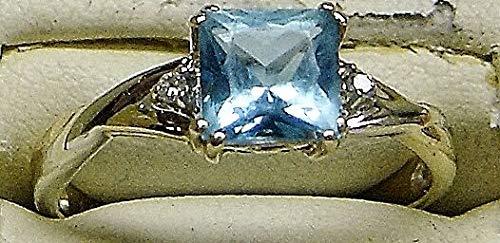 - 10K Two-Tone Gold Blue Topaz W/ 2 Petite Round Diamond Accents Size 6.75 SD-1186