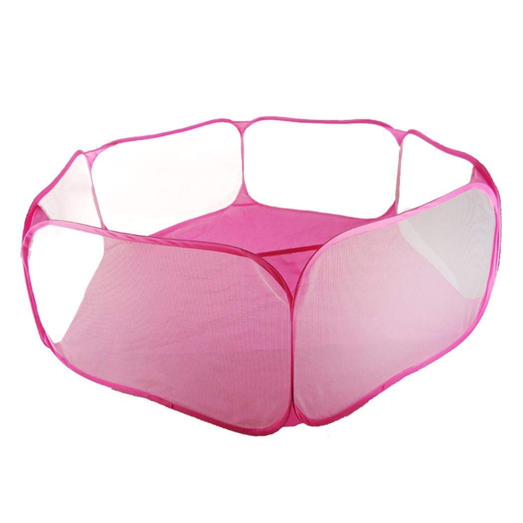 hhh Cute Hexagon Playpen Children Ball Pit ,Indoor and Outdoor Easy Folding Ball Play Pool Playhouse Baby Crawl Playpen Storage Bag (Pink)