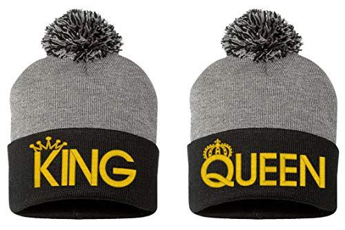 King-Queen Pom Pom-2 Beanie-Gray-Black